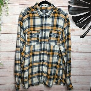 L.O.G.G by H&M yellow and black plaid flannel XL